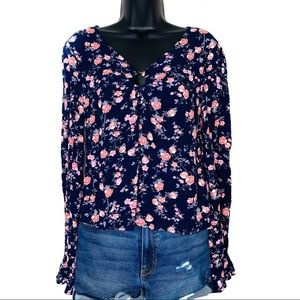Freshman Navy Blue Floral Print Ring Blouse Small